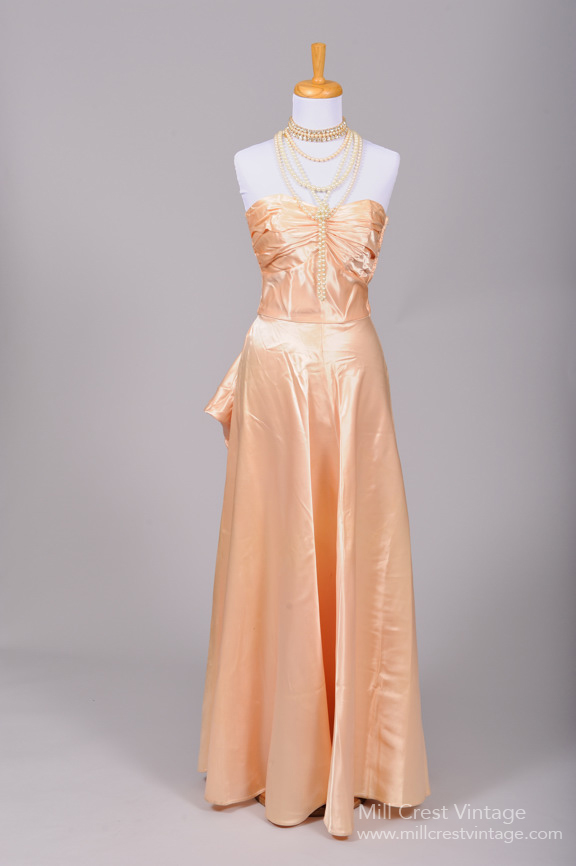1940s Silk Satin Vitnage Gown from Mill Crest Vintage