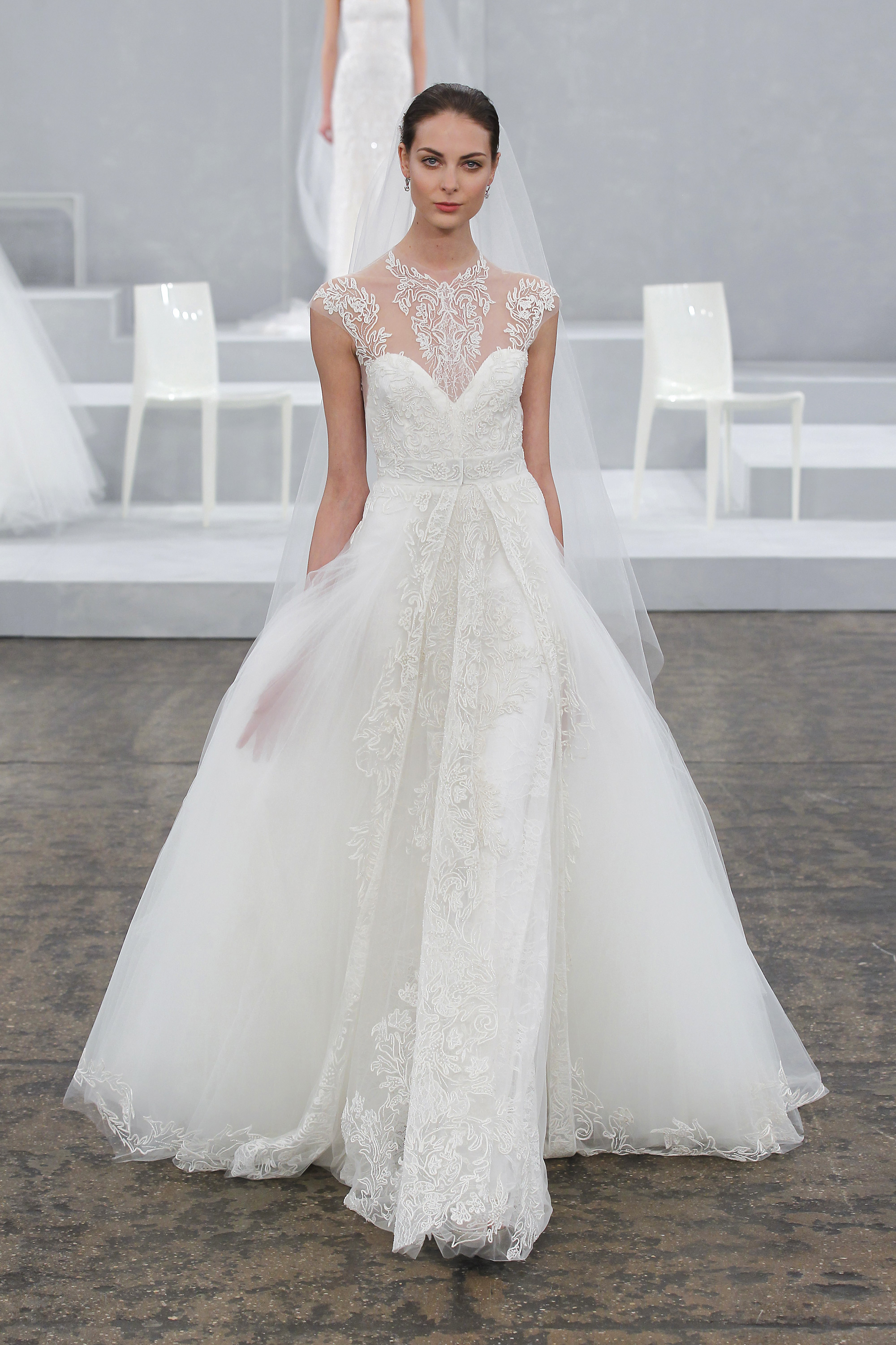 Wedding Dress with a Dramatic Neckline from Monique Lhuillier Spring 2015 Bridal Collection