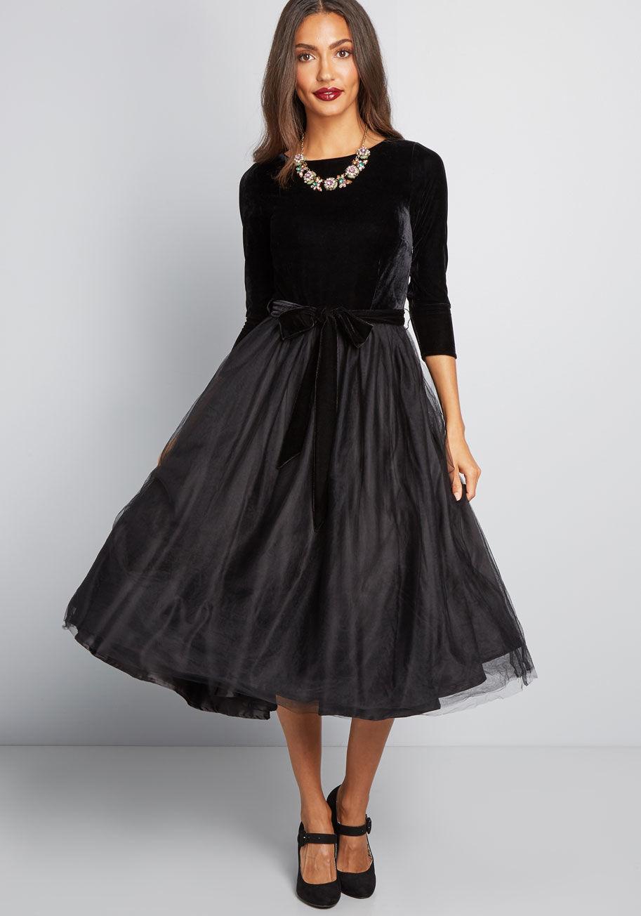 Fit & Flare Black Wedding Dress