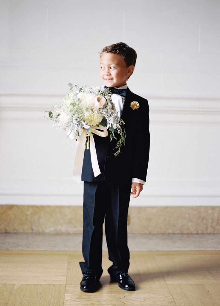 The Sweetest Vintage Ring Bearer wearing a tux