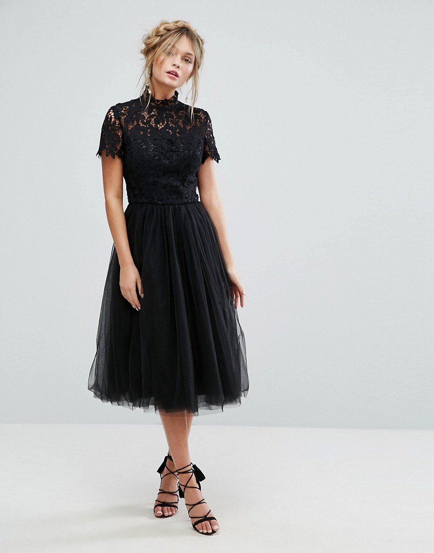 Tea Length Black Wedding Dress