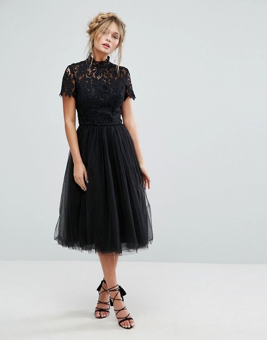 Tea Length Black Wedding Dress