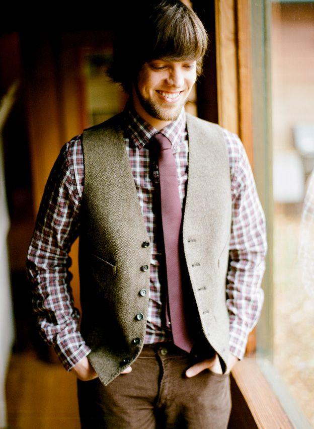 10 Ways to Style Your Groom Vintage - Tweed Waistcoat