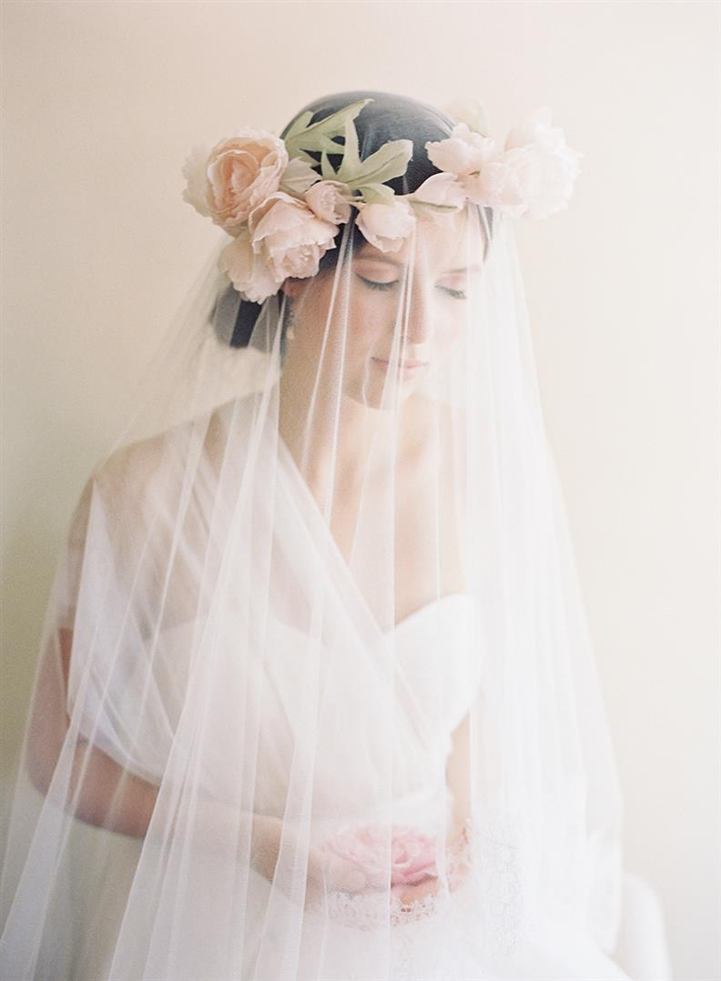Silk Flower Crown from Erica Elizabeth Designs English Rose Collection