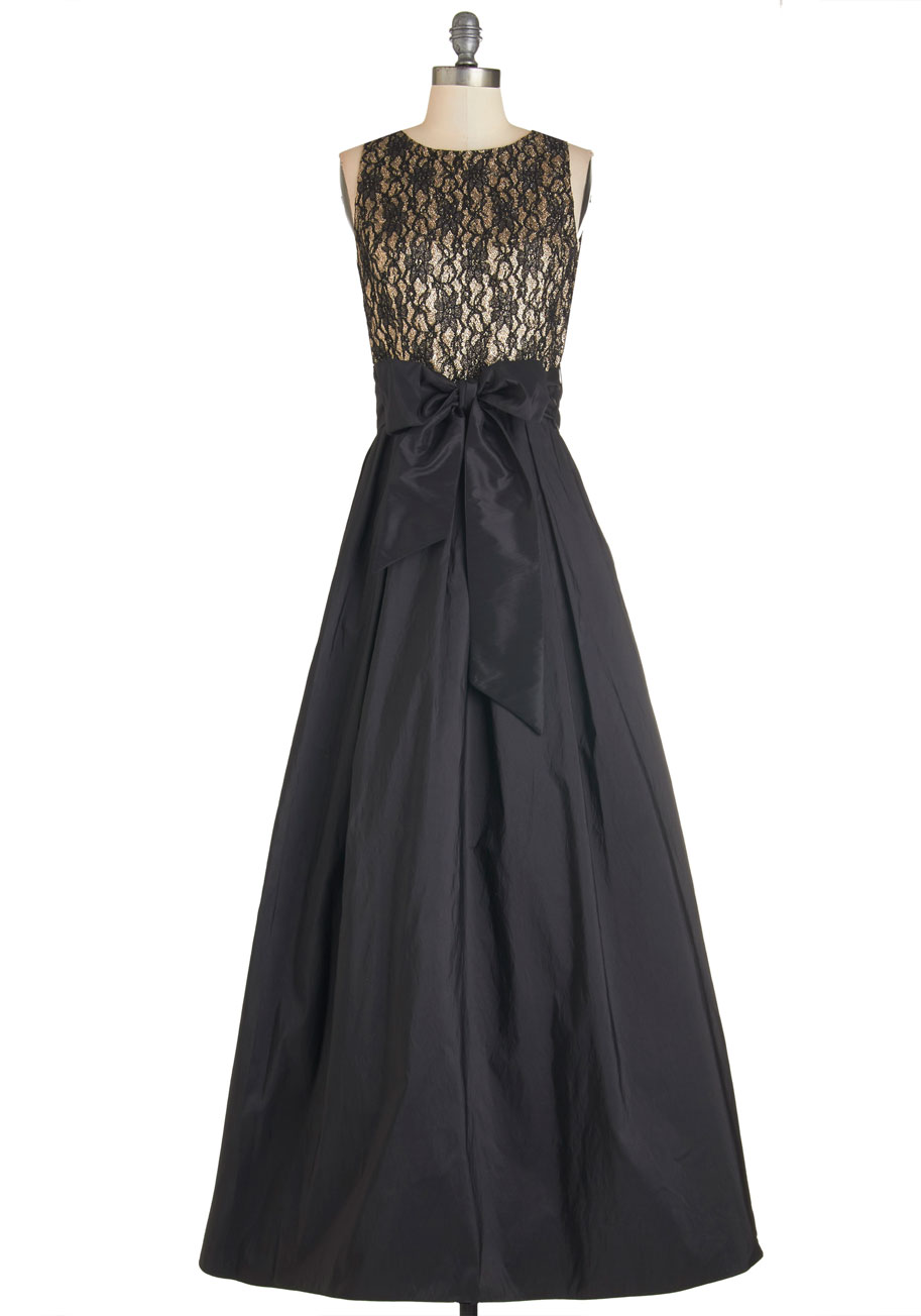 Black & Gold Maxi Bridesmaid Dress