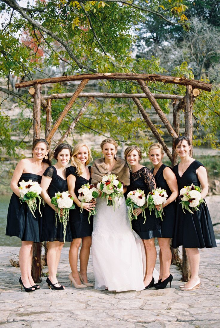 Bridesmaids In Short Black Dresses