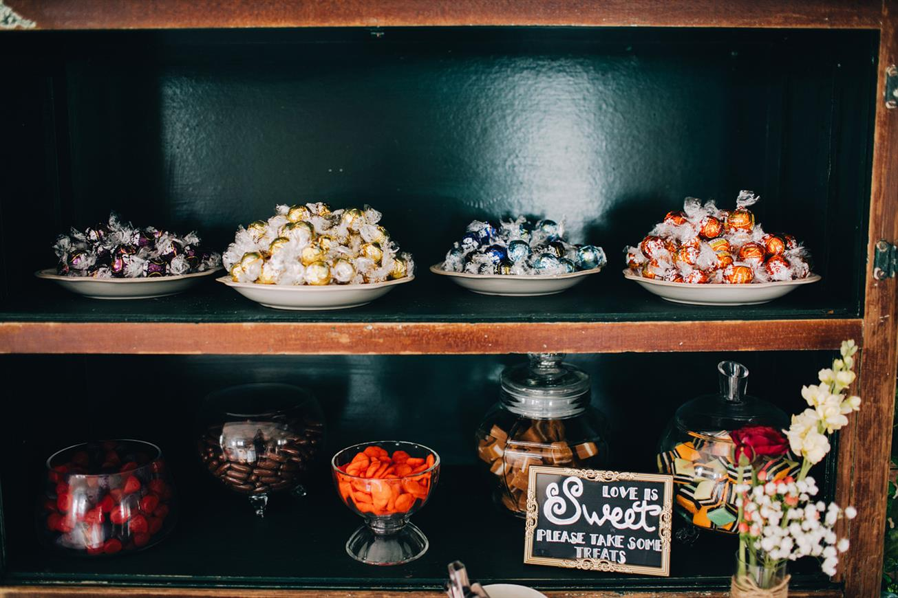 DIY Sweet Table - A Super Stylish DIY Wedding Even the Rain Couldn't Ruin from John Benavente Photography