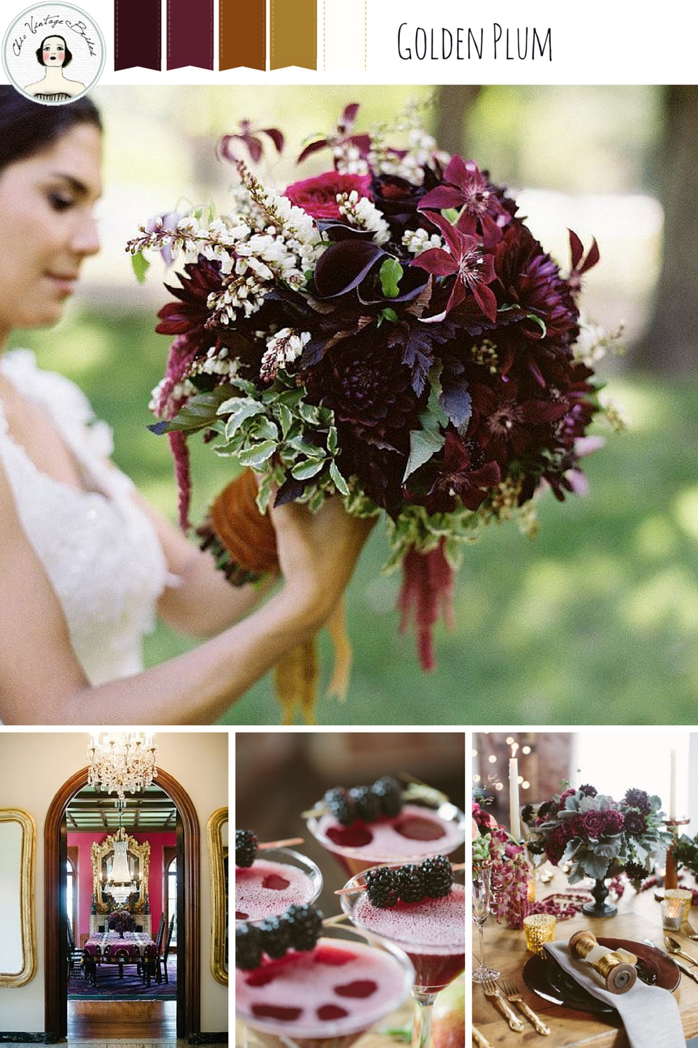 Golden Plum - Rich & Romantic Wedding Moodboard