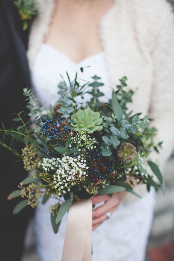 Green & Blue Succulent Winter Bridal Bouquet