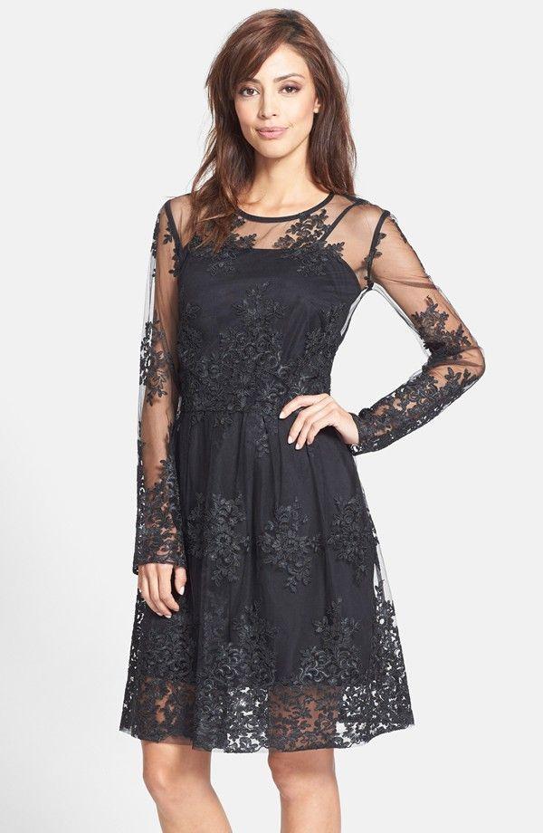 Long Lace Sleeve Black Bridesmaid Dress