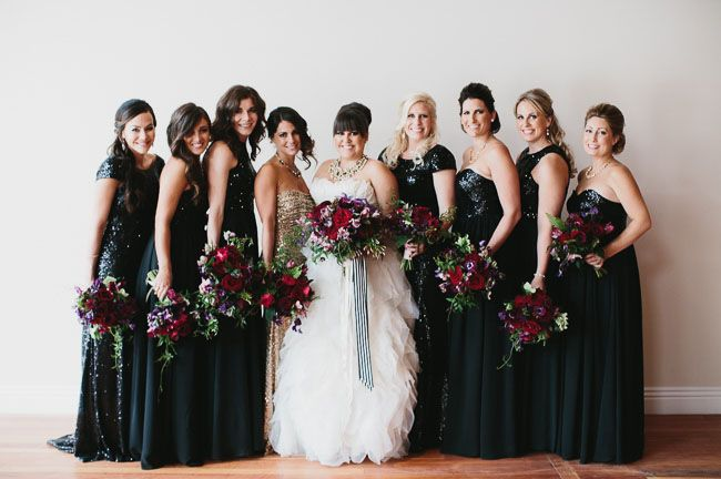 Bridesmaids in Black Dresses Perfect for the Holiday Season