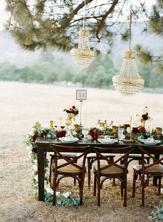Glam Outdoor Winter Wedding Tablescape