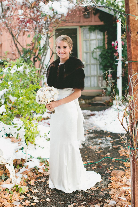 Winter Bridal Bouquet - A Vintage Fur Cape for a Romantic Snowy Winter Wedding