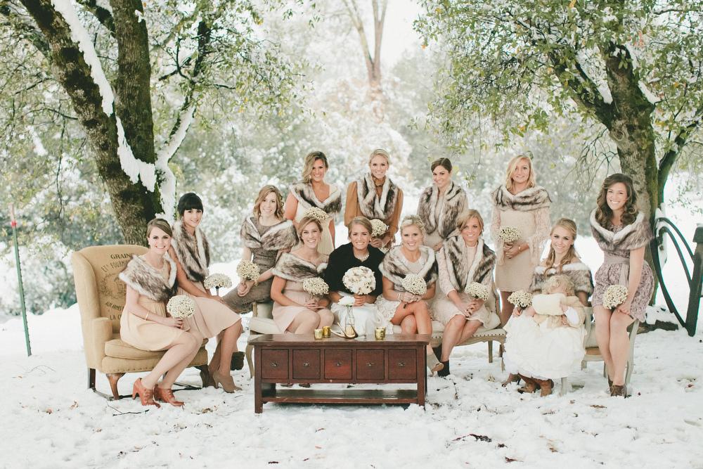 Winter Bridesmaids - A Vintage Fur Cape for a Romantic Snowy Winter Wedding