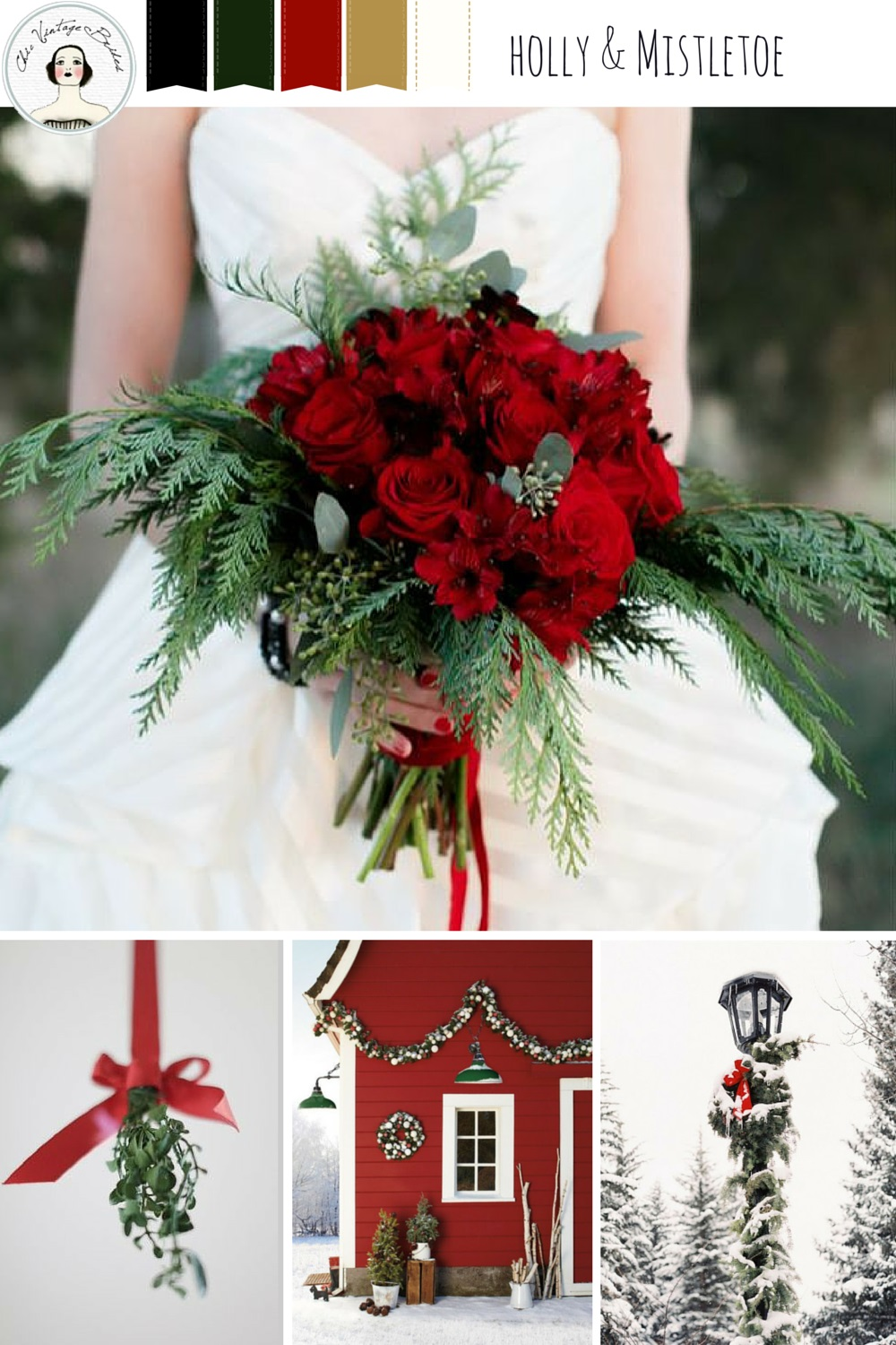 Holly & Mistletoe - Christmas Wedding Inspiration in Rich Shades of Red, Gold & Green