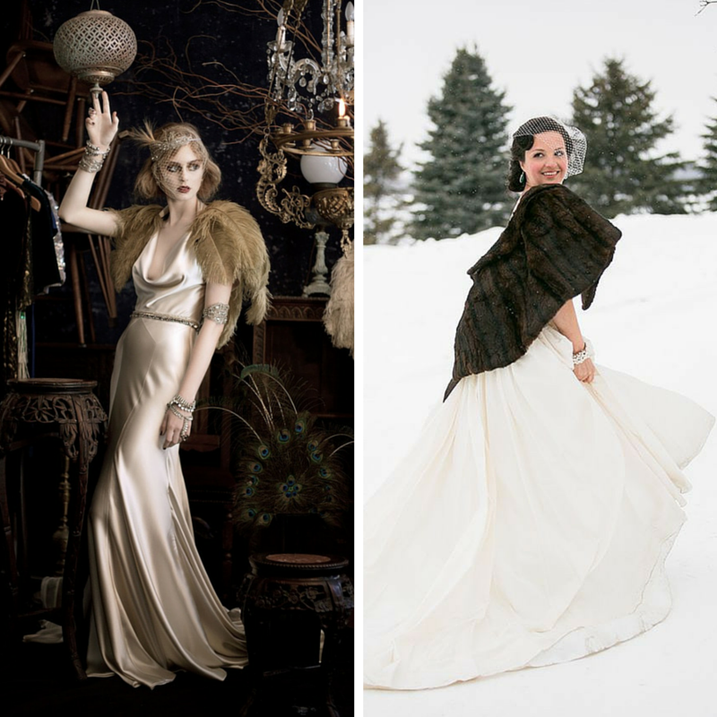 The Chic Vintage Winter Bride's Dilemma - Feather or Fur?