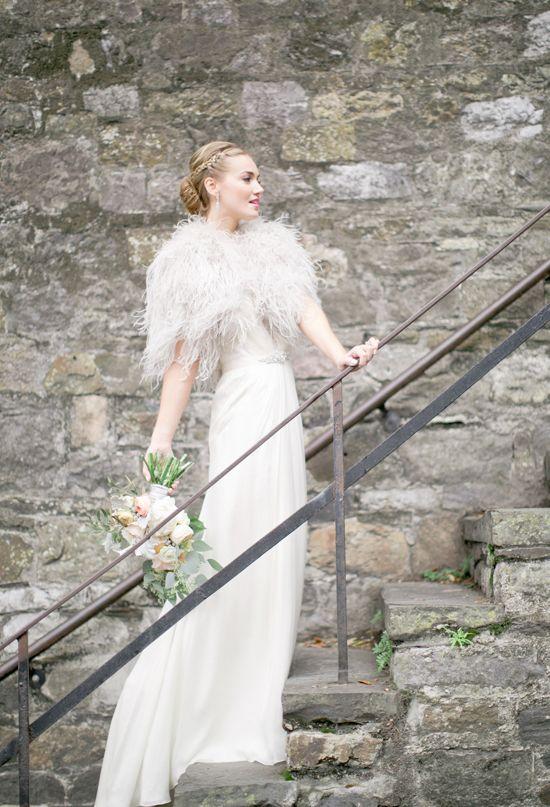 Feather Bridal Cape