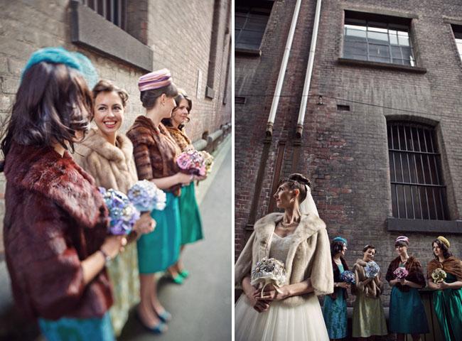 Bride & Bridesmaids in Vintage Fur Coats