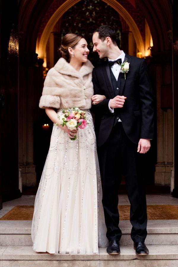 Neutral Fur Bridal Coverup