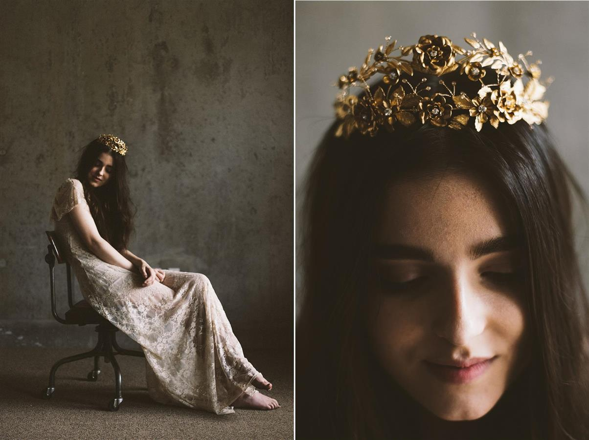 Golden Bridal Crown from Mignonne Handmade