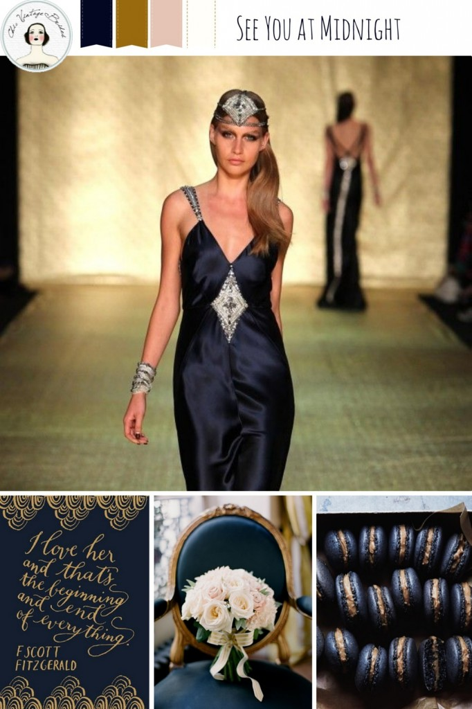 New Year's Eve Wedding Inspiration Board in Midnight Blue & Gold