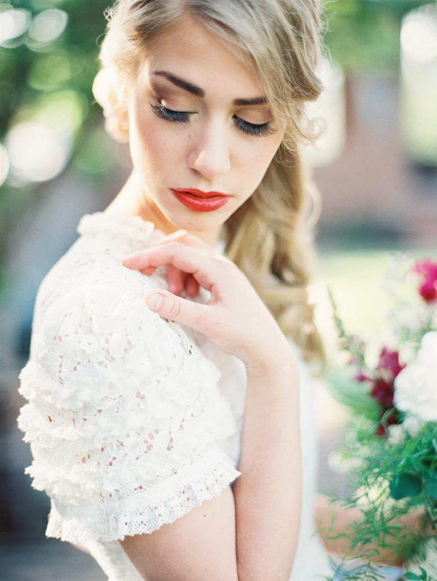 """Vintage Bridal Makeup - """"The Secret Garden"""" A Romantic Garden Wedding Inspiration Shoot"""