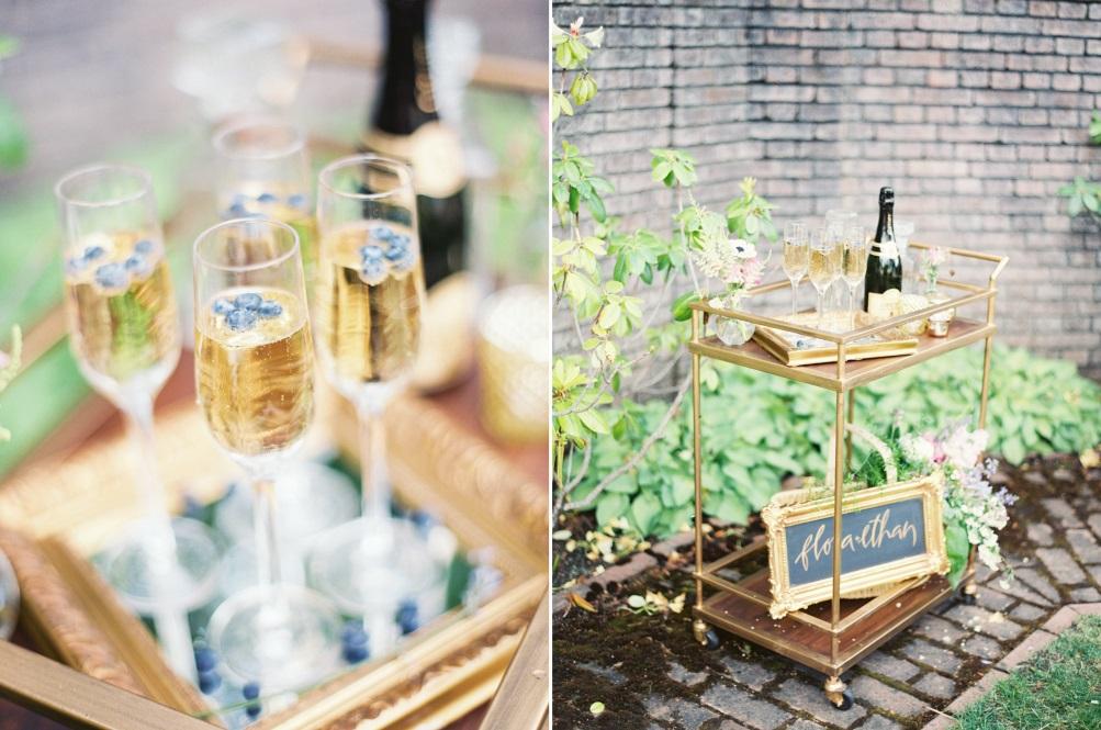 "Champagne Bar - ""The Secret Garden"" A Romantic Garden Wedding Inspiration Shoot"