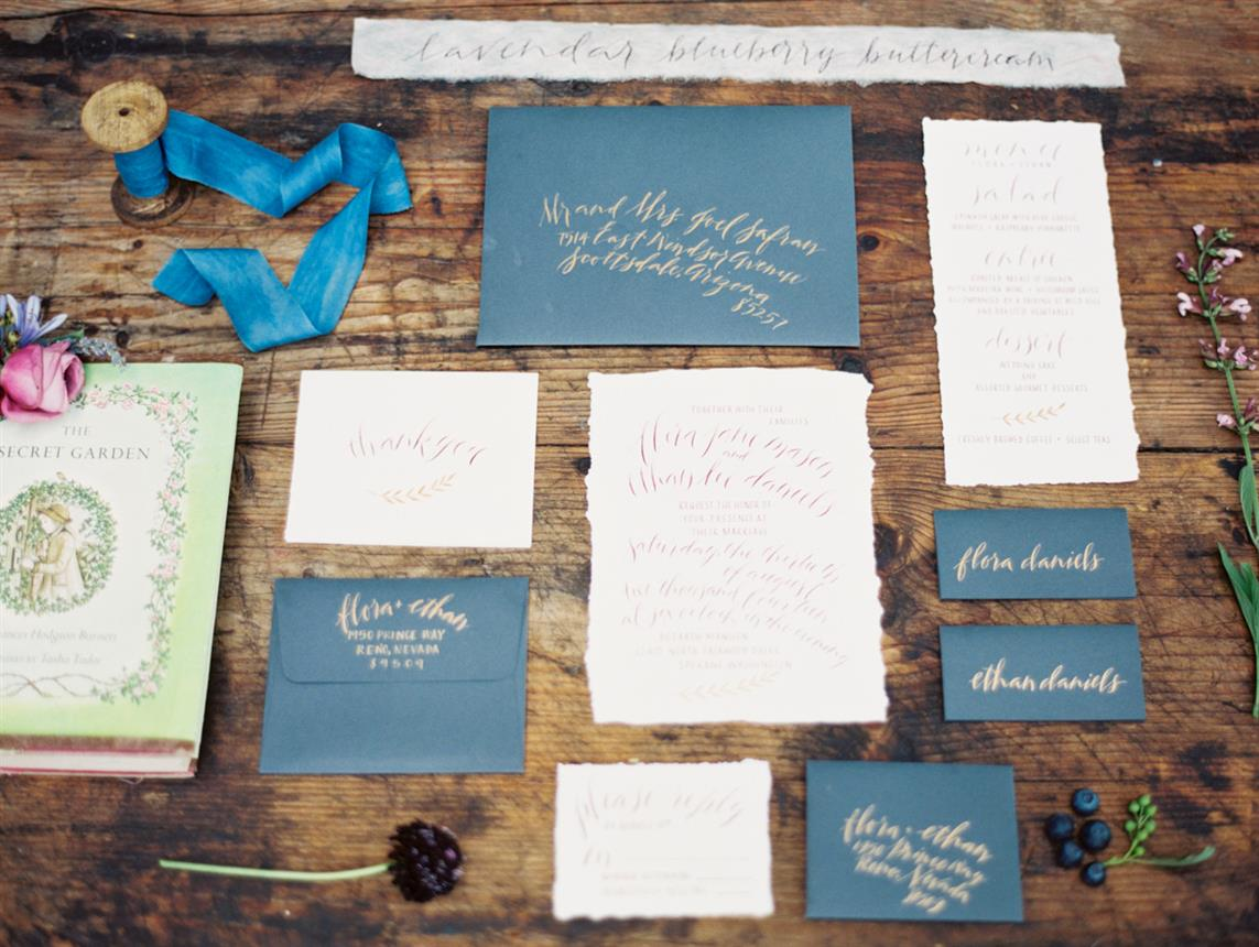 "Calligraphy Wedding Stationery - ""The Secret Garden"" A Romantic Garden Wedding Inspiration Shoot"