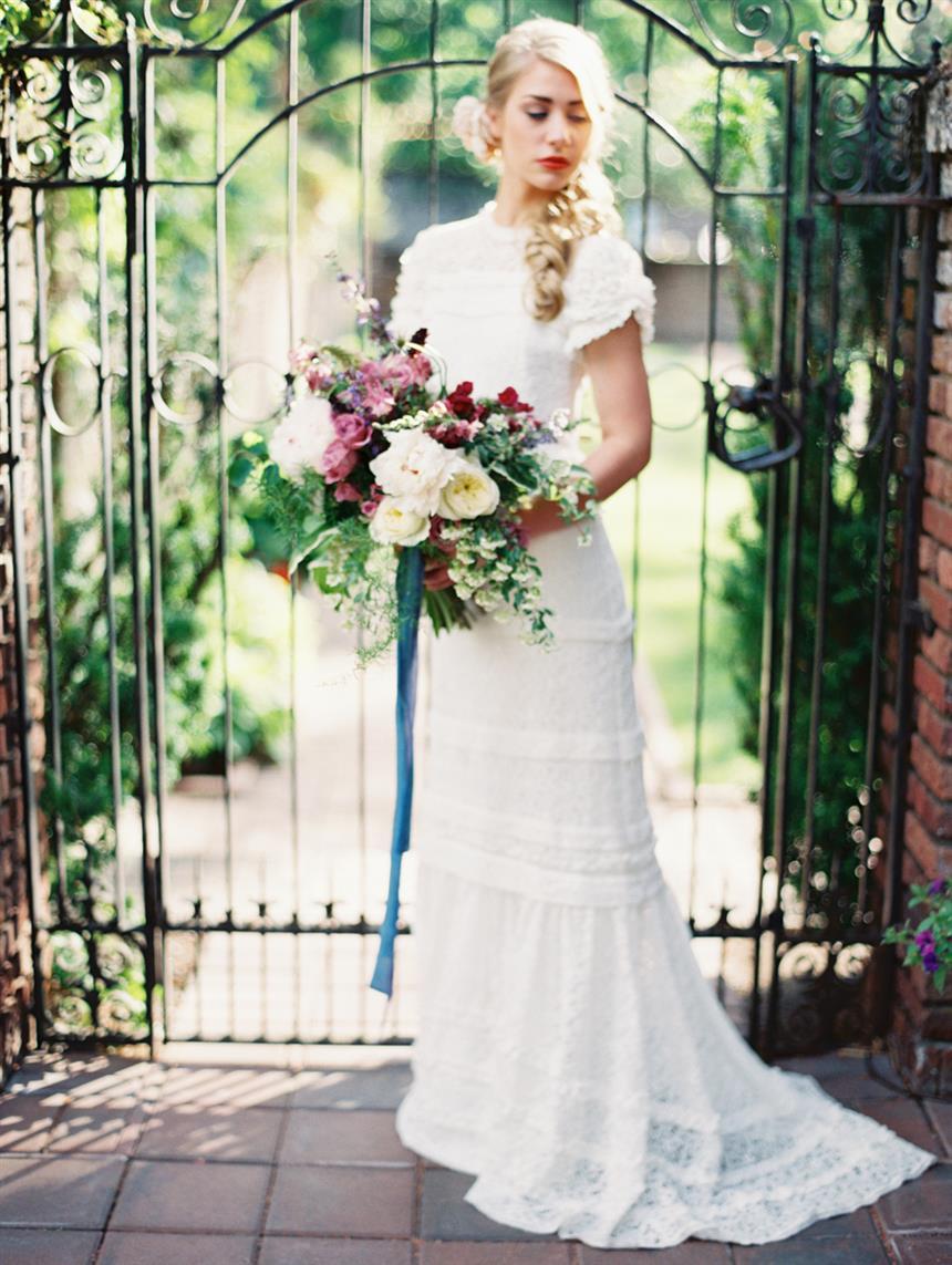 "Vintage Bridal Bouquet - ""The Secret Garden"" A Romantic Garden Wedding Inspiration Shoot"