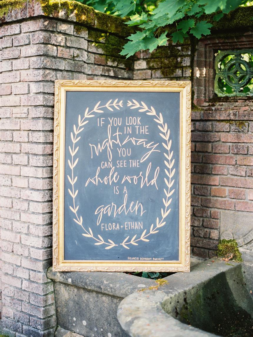 """Calligraphy Wedding Sign - """"The Secret Garden"""" A Romantic Garden Wedding Inspiration Shoot"""