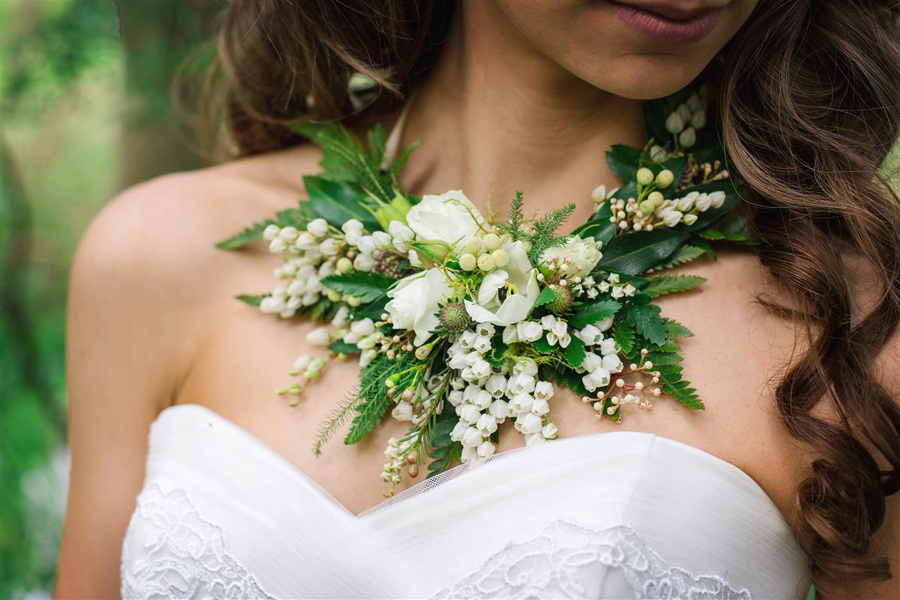 Floral Necklace - A Lush Spring Boho-Vintage Wedding Inspiration Shoot from Toni Larsen Photography