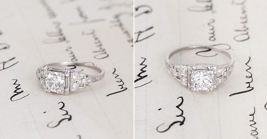 Diamond Art Deco Engagement Ring