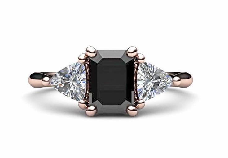 Vintage Inspired Black Diamond Engagement Ring