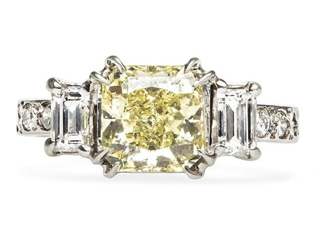 Vintage Yellow Diamond Engagement Ring