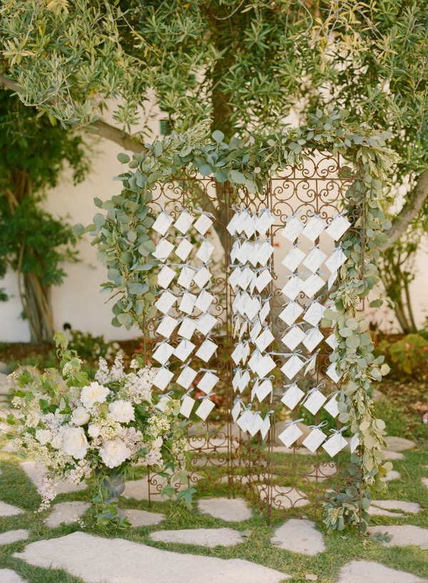 Garden Wedding Escort Card Display