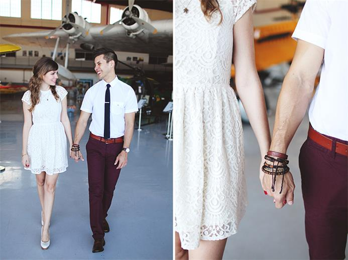A Sweet Vintage Engagement Session at an Aeroplane Hangar