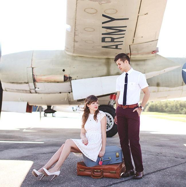 A Sweet Vintage Engagement Session at an Aeroplane Hangar