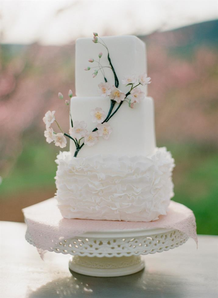 Spring Wedding Cake - The Prettiest Pink Spring Wedding Inspiration Shoot In A Blossom-Filled Orchard