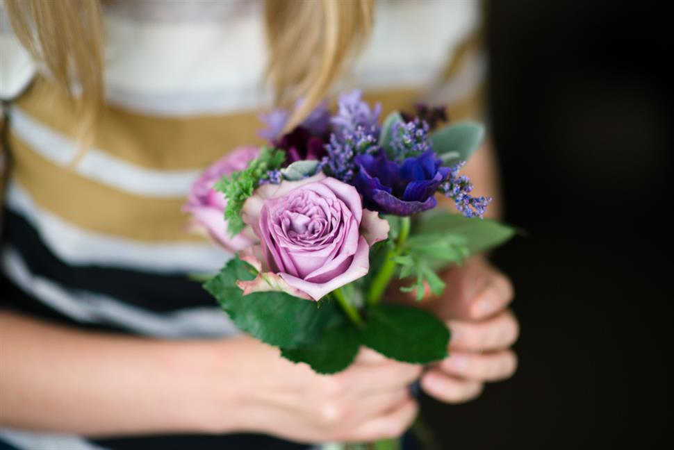 A Hand-Tied Bridal Bouquet Recipe of Spring Purples