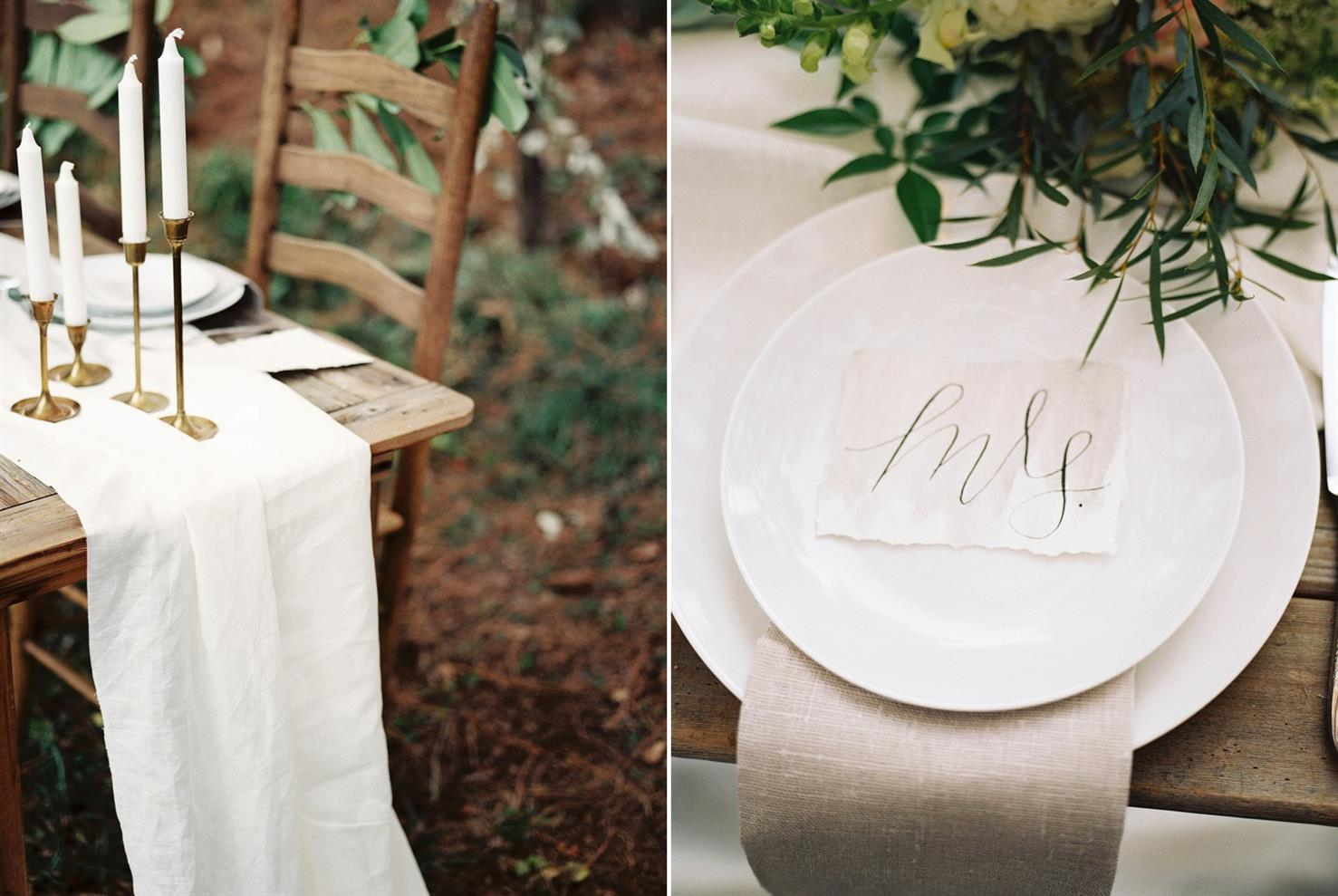 An Elegant Woodland Wedding Inspiration Shoot - Vintage Tablescape
