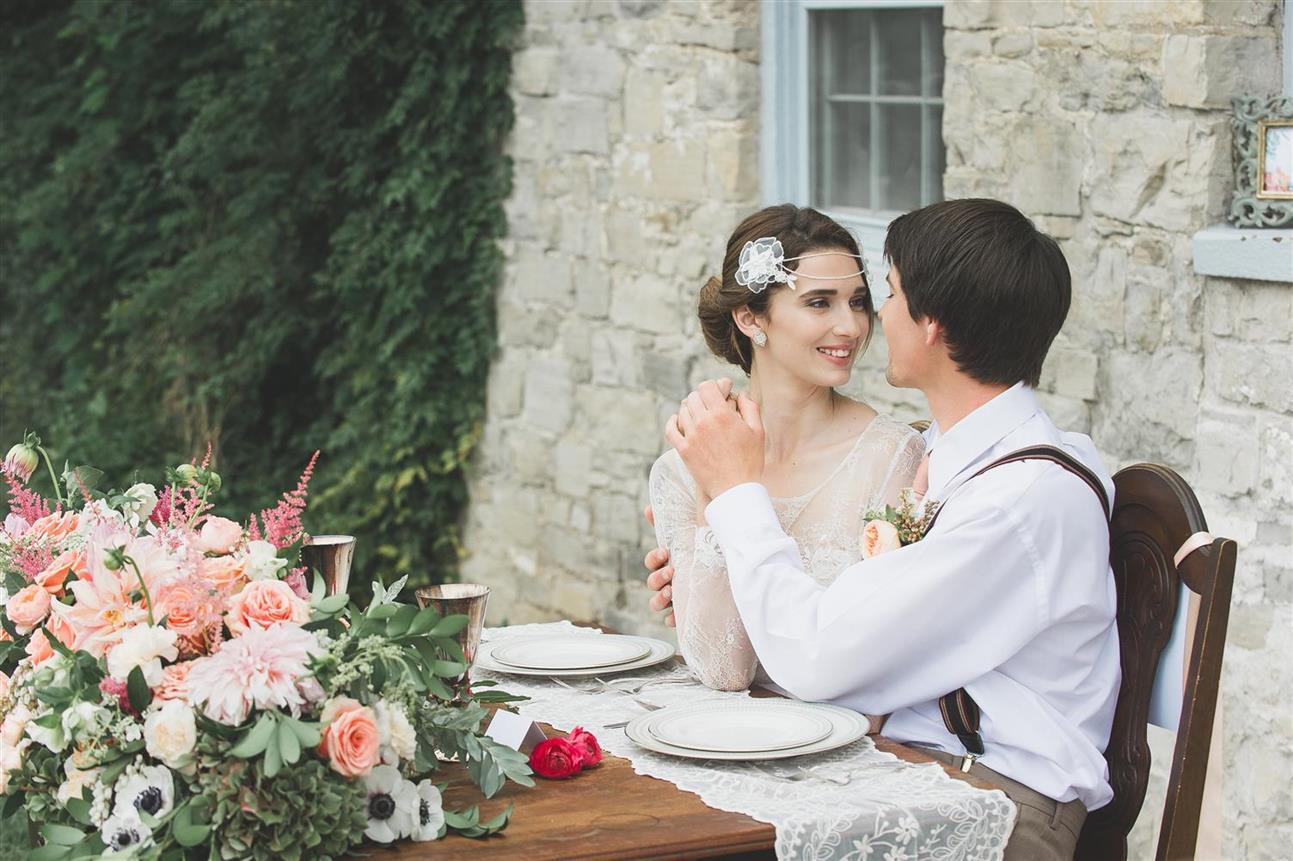 Vintage Bride & Groom - A Romantic Vintage Wedding Inspiration Shoot from Sue Gallo Designs