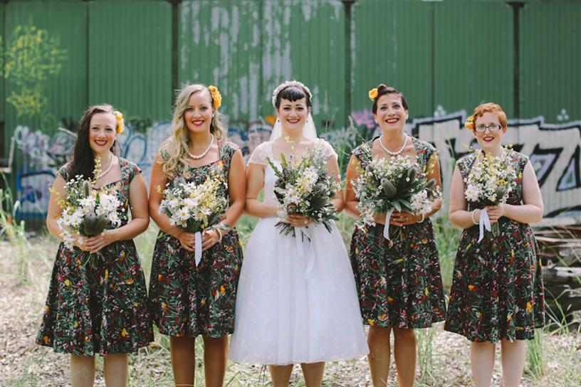 Vintage Bride & Bridesmaids - A 1950s Inspired Woodland Wedding
