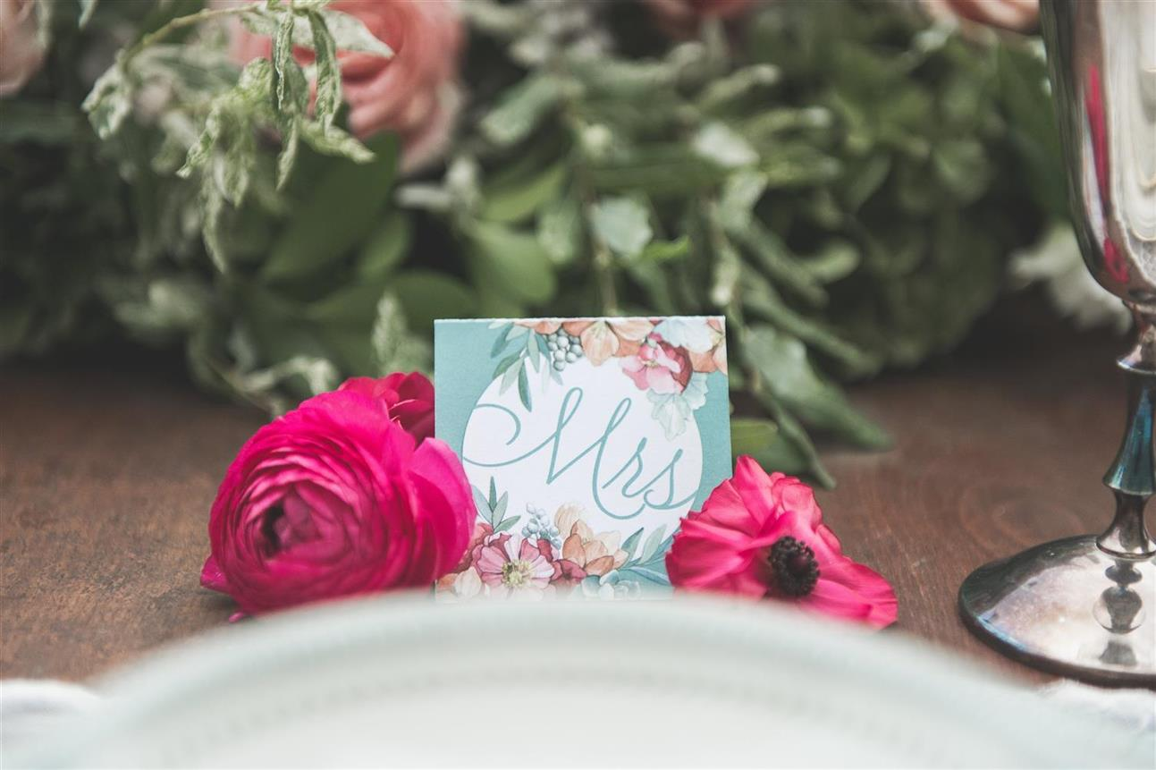 Vintage Wedding Placecard - A Romantic Vintage Wedding Inspiration Shoot from Sue Gallo Designs