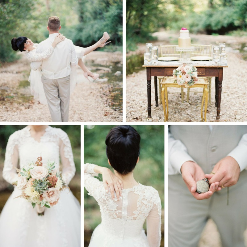 A Stylish Modern Vintage Blush Gold Wedding Inspiration Shoot