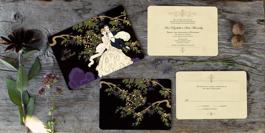 Wedding Invitations with Gatsby Glamour Chic Vintage Brides