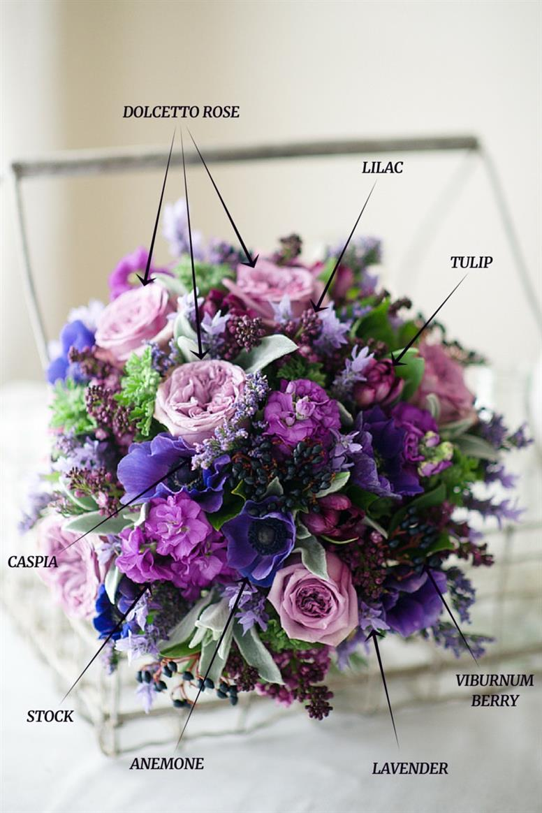 A hand tied vintage bridal bouquet recipe in spring purples chic a hand tied bridal bouquet recipe of spring purples junglespirit Images