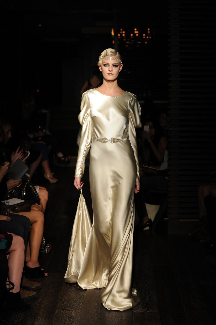 Long Sleeved Art Deco Wedding Dress from Johanna Johnson Starlet Collection