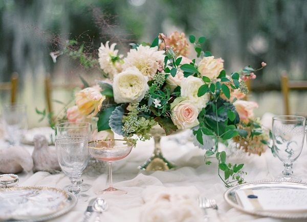 Stunning Spring Wedding Tablescape in Peach & Silver