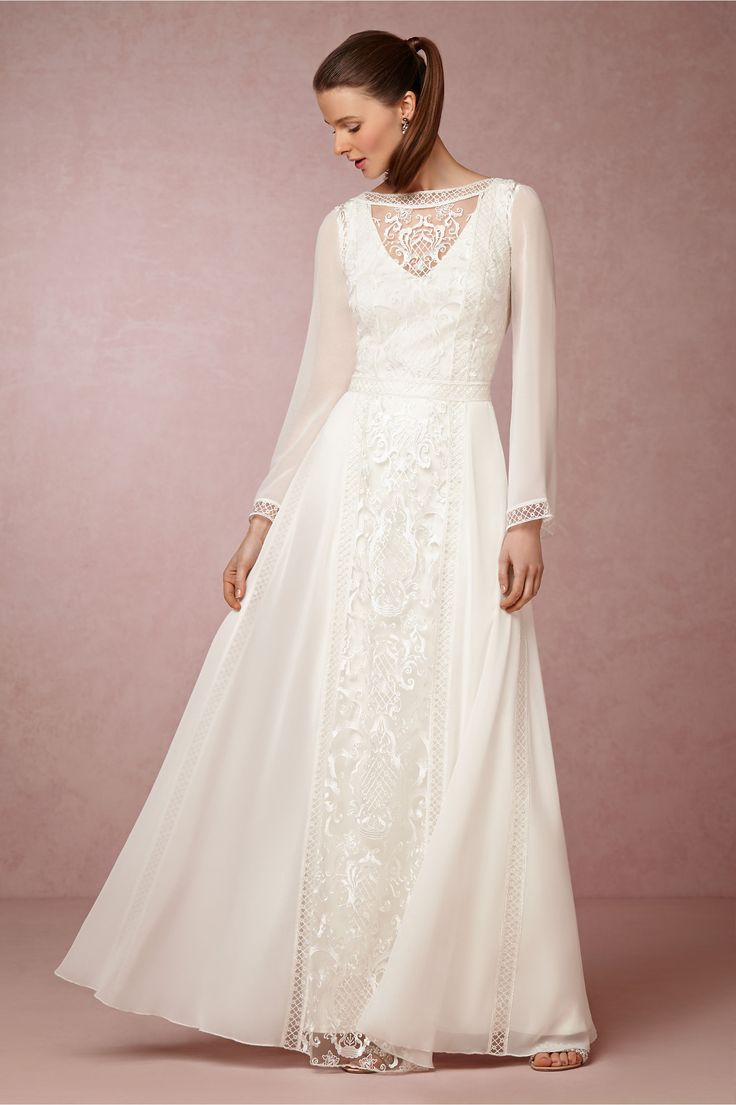 Tadashi Shoji Boho Wedding Dress with Long Sleeves