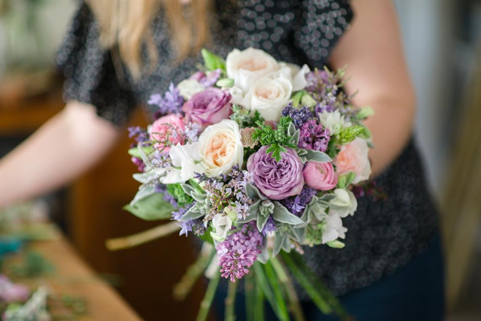 Wedding Bouquet Recipe ~ The Prettiest Bridal Bouquet of Purples & Pink